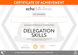 Delegation Skills certificate
