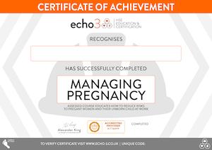 Managing Pregnancy certificate